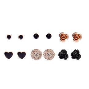 Gold Floral Stud Earrings - Black, 6 Pack,