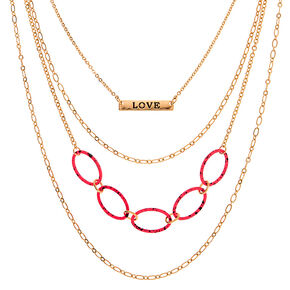 Gold Chain Multi Strand Necklace - Neon Pink,