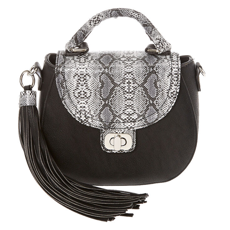 Faux Leather Black & Snake Skin Mini Crossbody Bag,