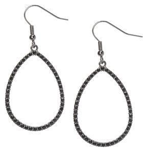 """Hematite 1.5"""" Teardrop Drop Earrings,"""