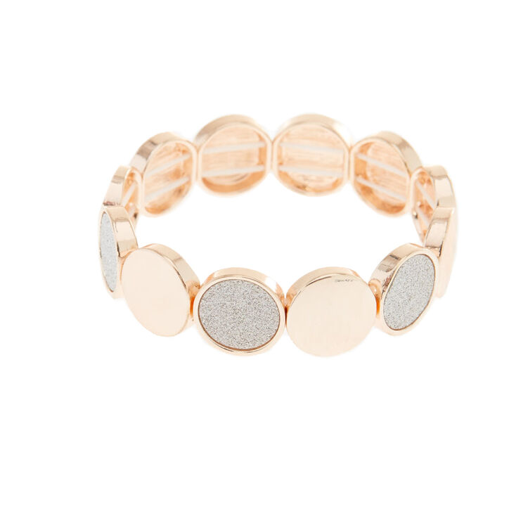 Rose Gold Glitter Disc Stretch Bracelet - Silver,