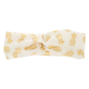 Golden Pineapple Headwrap - White,