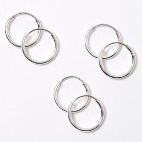 Silver 10MM Skinny Hoop Earrings - 3 Pack,
