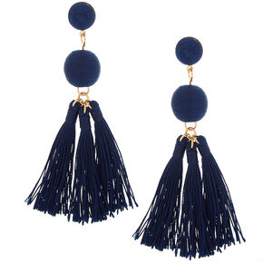"3"" Wrapped Tassel Drop Earrings - Navy,"