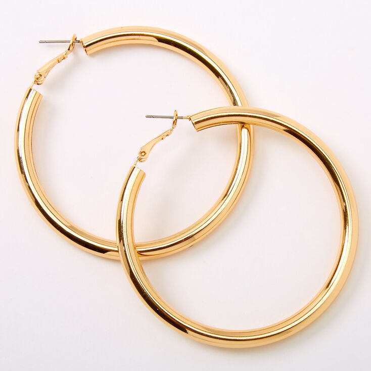 Gold 60MM Tube Hoop Earrings,