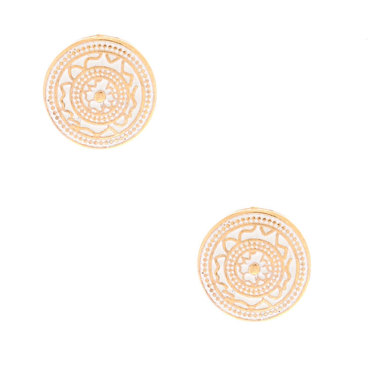 Gold Circle Stud Earrings - White,
