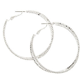 Criss Cross Stone Hoop Earrings,