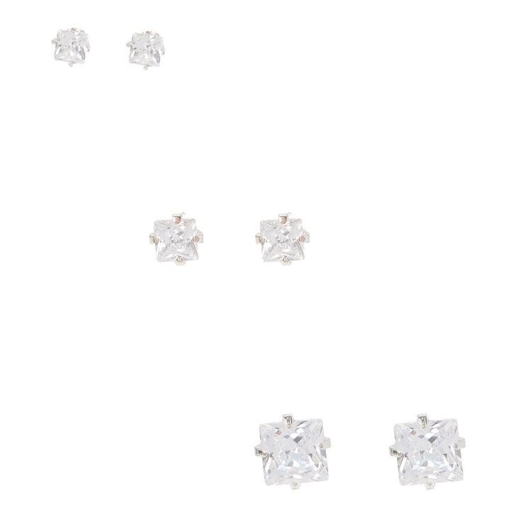 Silver Martini Set Graduated Square Crystal Studs,