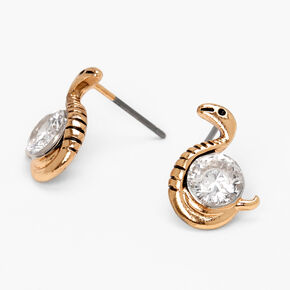 Gold Cubic Zirconia Snake Stud Earrings,