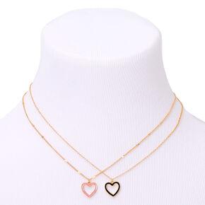 Gold Open Heart Pendant Necklaces - 2 Pack,