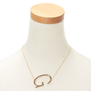 Oversized Initial Pendant Necklace - G,