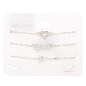 Silver Paris & Love Statement Bracelets - 3 Pack,