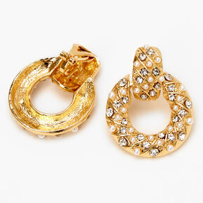 "Gold 1"" Crystal Pearl Circle Door Knocker Clip On Drop Earrings,"