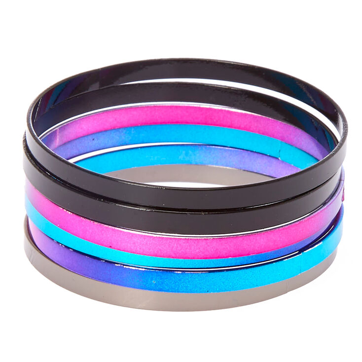 6 Pack Rainbow Ombre Bangle Bracelets,