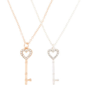 Best Friends Mixed Metal Key Pendant Necklaces - 2 Pack,