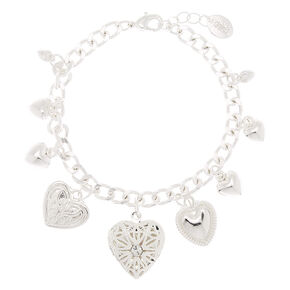Silver Heart Locket Charm Bracelet,
