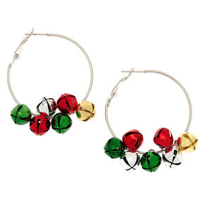 Silver 50MM Bells Hoop Earrings,