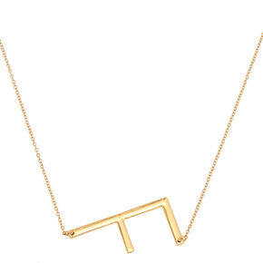 Oversized Initial Pendant Necklace - F,