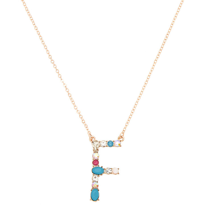 Embellished Long Initial Pendant Necklace - F,