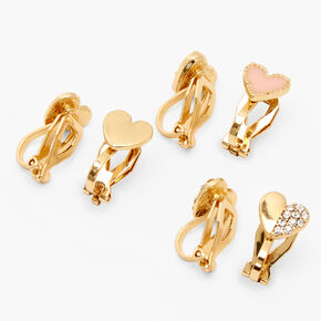 Gold Mixed Heart Clip On Stud Earrings - Pink, 3 Pack,