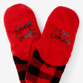 Red & Black Plaid Slippers,