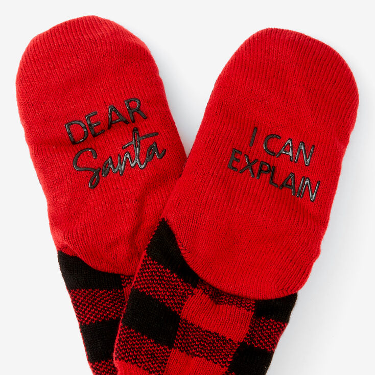 Red & Black Plaid Slippers,
