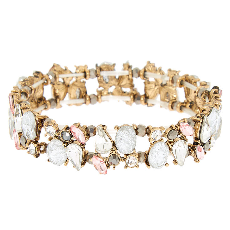 Antique Embellished Stretch Bracelet - Pink,