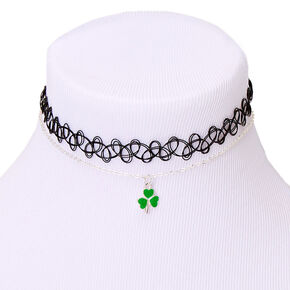 Silver Shamrock Choker Necklaces - 2 Pack,