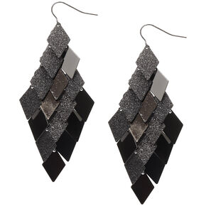 "Hematite 3"" Diamond Drop Earrings,"
