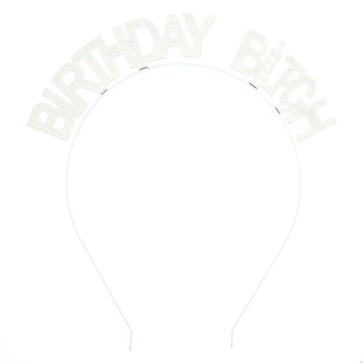 Birthday Bitch Glitter Headband - White,