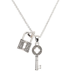 Silver Rhinestone Lock & Key Pendant Necklace,