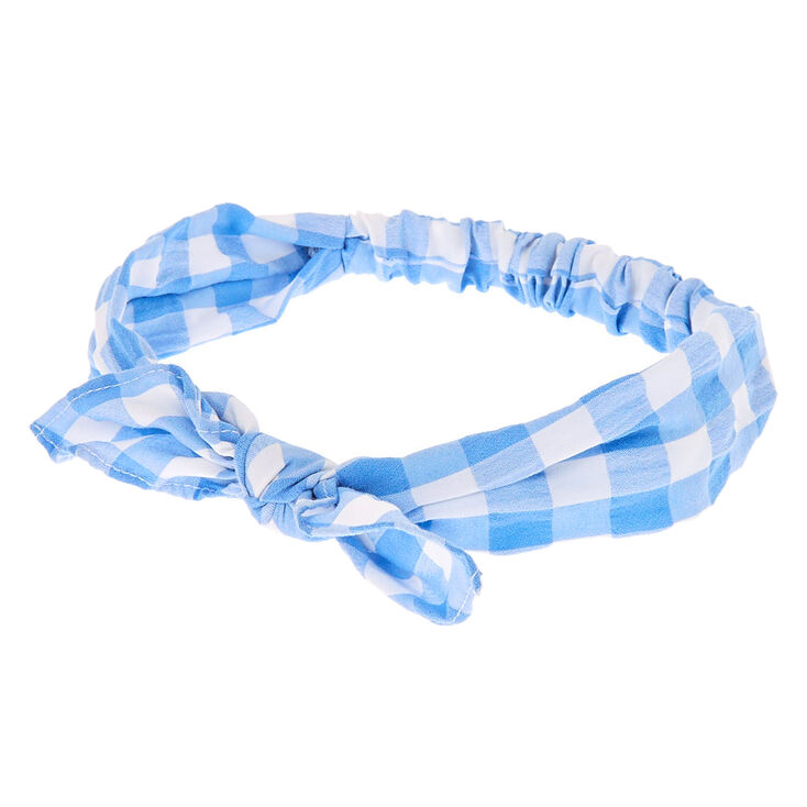 Gingham Knotted Bow Headwrap - Blue,