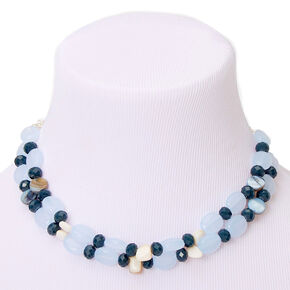 Silver Seashell Stone Multi Strand Necklace - Blue,