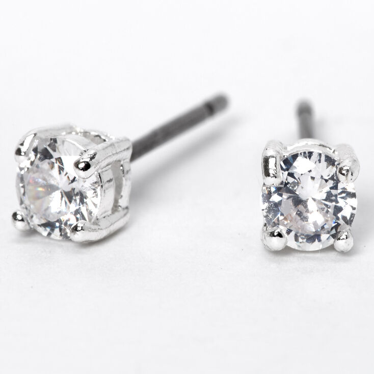 Silver Cubic Zirconia 4MM Parallel Setting Stud Earrings,