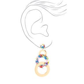 """Gold 3.5"""" Resin Circle Drop Earrings - Rainbow,"""