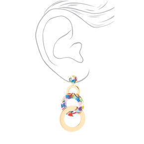 "Gold 3.5"" Resin Circle Drop Earrings - Rainbow,"