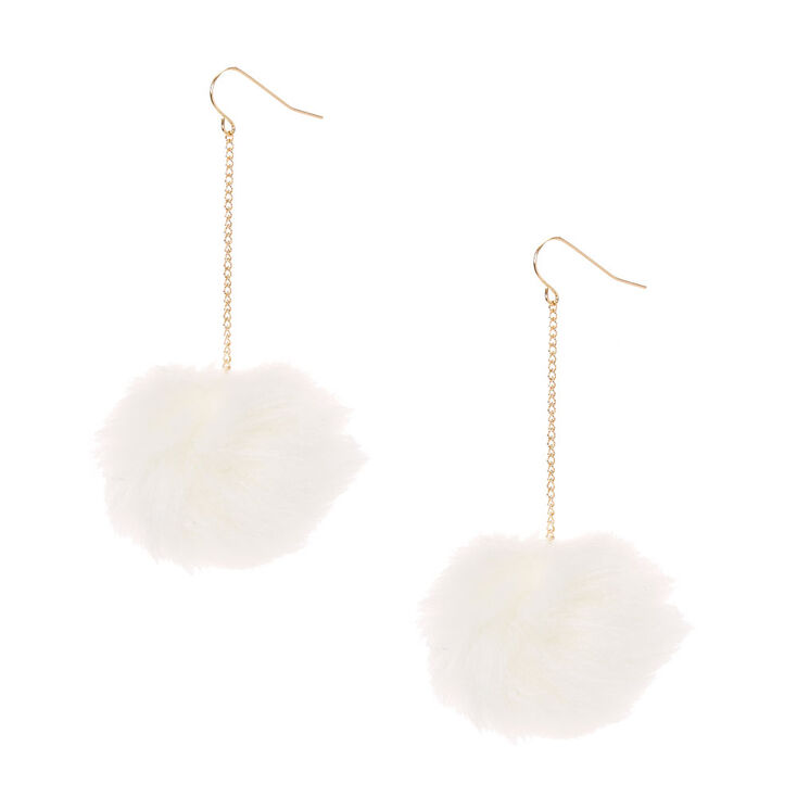 1747939bd White Pom Pom Drop Earrings | Icing US