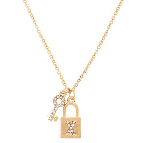 Gold Lock & Key Initial Pendant Necklace - X,