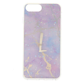 Lilac Marble Glitter L Initial Phone Case - Fits iPhone 6/7/8 Plus,