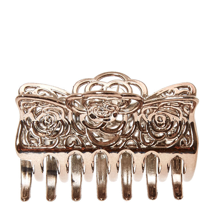 Silver Filigree Rose Hair Claw,