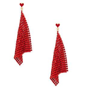 """Gold 3.5"""" Heart Chain Drop Earrings - Red,"""
