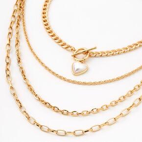 Gold Pearl Heart Toggle Chain Multi Strand Necklace,