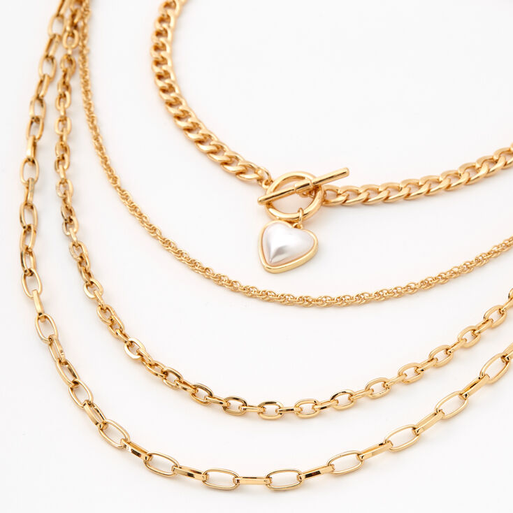 Gold Pearl Heart Toggle Chain Multi Strand Necklace,