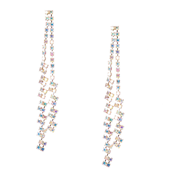 Iridescent Double Row Crystal Chain Drop Earrings,