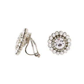 Silver Crystal Clip On Stud Earrings,