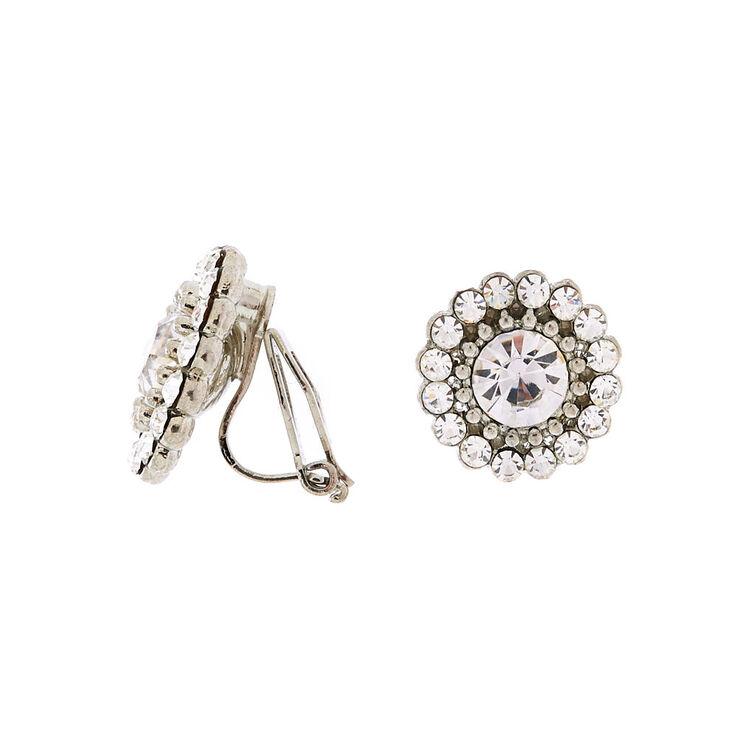 Silver Crystal Clip On Stud Earrings,