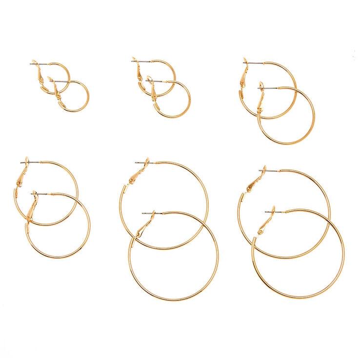 6 Pack Graduated Skinny Gold Tone Hoop Earrings,