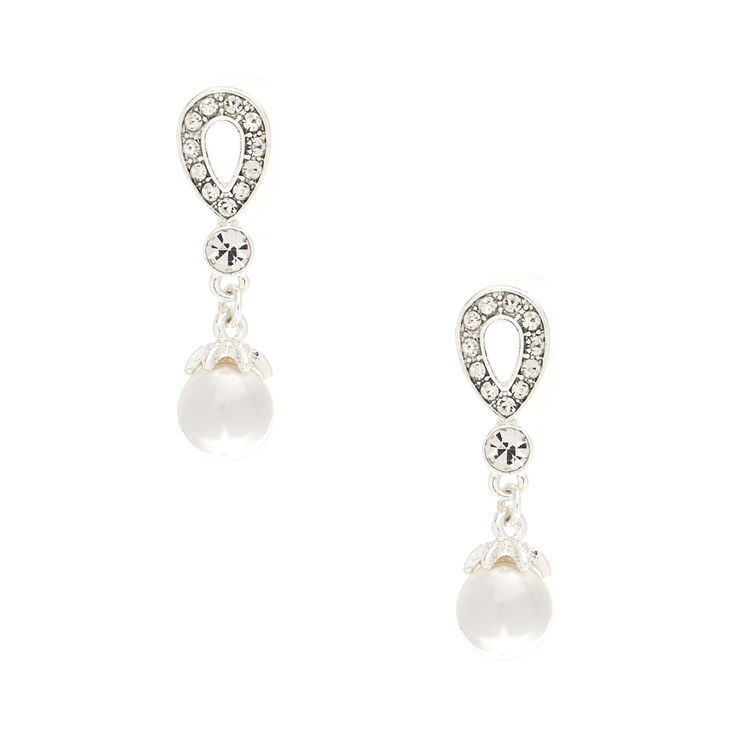 Rhinestone Teardrop & Pearls Drop Earrings,