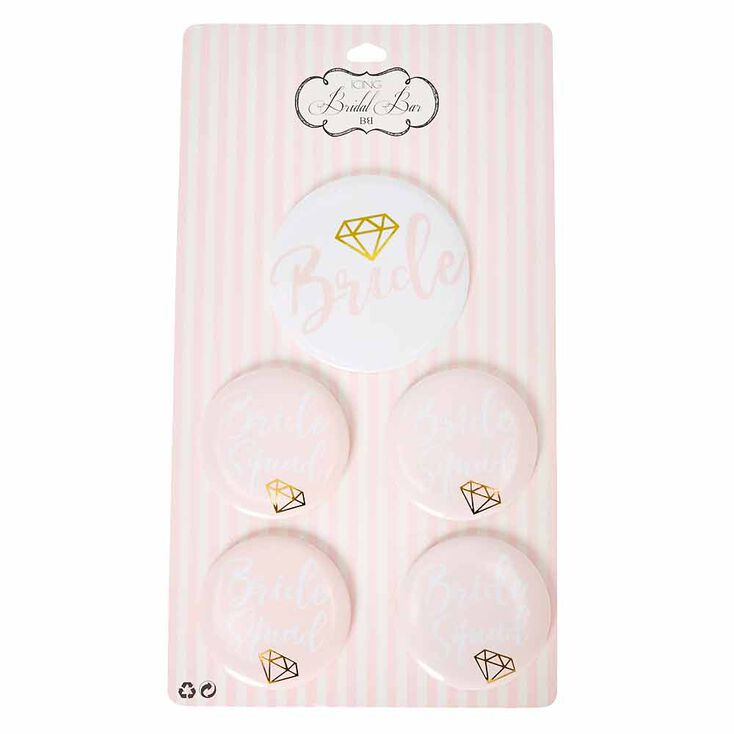 Blush Pink Bride & Bridesmaid Button Set,