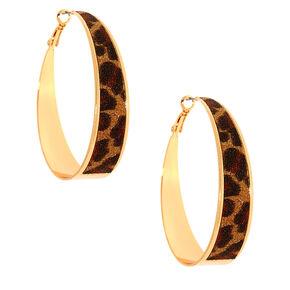 Gold 60MM Glitter Leopard Hoop Earrings,